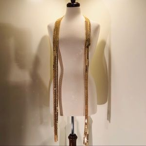 Sequin drop scarf; gold color